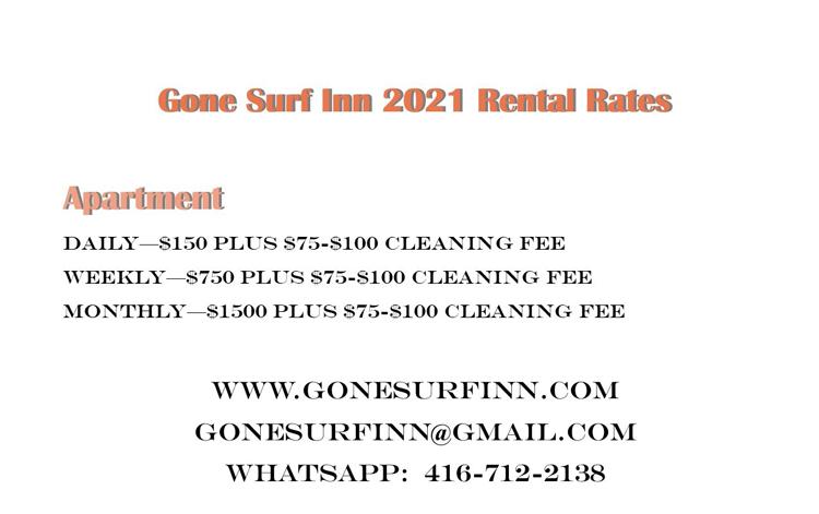 Gone Surf Inn Rental Rates